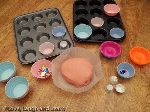 Pink playdough cakes, and squishy playdough footprints ...