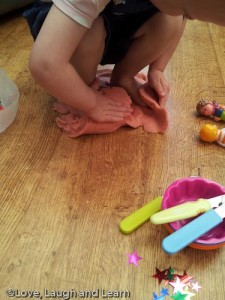 playdough malleable play footprints