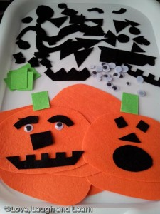 felt pumpkin faces craft