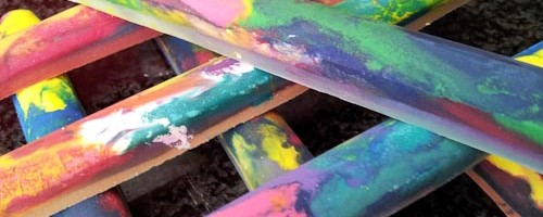 homemade rainbow wax crayons