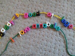 letter beads threading