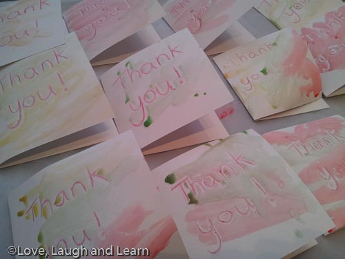 wax resist thank you cards