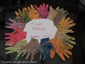 Sensory sand finger painting