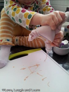 Fine-motor activity with piping bag.