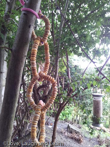 Threaded cereal bird feeders